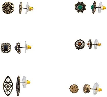 Lux Accessories Pave Crystal Disc Antique Tribal Multiple Stud Earring Set