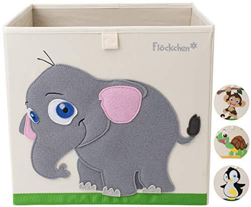 Flöckchen Kinder Aufbewahrungsbox, Spielzeugbox für Kinderzimmer I Spielzeug Box (33x33x33) passt ins Kallax Regal I Kinder Motiv Tiere (Emilia der Elefant)