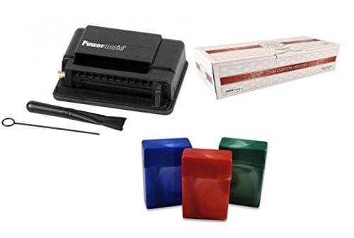 Powermatic Black Cigarette Injector Machine + Free Tube, 3 pk FESS 85mm Cigarette Case