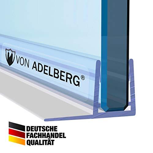 VON ADELBERG Duschdichtung Wasserabweiser Gerade PVC Ersatzdichtung für Dusche Typ: VA004-10 - Länge: 40 bis 200 cm - Glasstärke: 4, 6, 8, 10, 12 mm, Dichtung Länge:180 cm, Glasstärke:6 mm