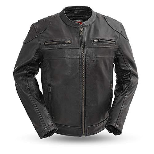 First MFG Co. - Nemesis - Men's Motorcycle Leather Jacket (Black, Medium)