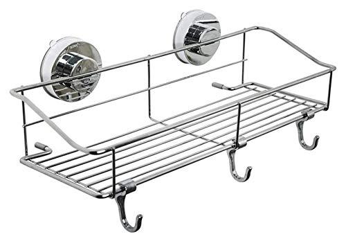 Toallero Fuerte ventosa ducha Caddy Bath Shelf Almacenamiento con 3 ganchos, baño de baño montado en la pared Organizador de acero inoxidable para champú acondicionador maquinilla de afeitar, cesta de