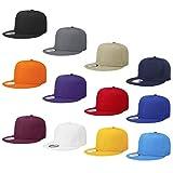 Falari Wholesale 12 Pack Snapback Hat Cap Hip Hop Style Flat Bill Blank Solid Color Adjustable Size G212-Assorted1