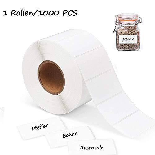 1000 Selbstklebend Haushaltsetiketten Etiketten Label Blank Roll 6x4cm Büro Küche Weißen Aufkleber (Kühlschrank Marmelade Gewürzglas) Kontinuierliche Rolle