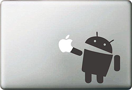 Vati fogli smontabili creativo del fumetto del robot del Android Decal Sticker Art nero per Apple Macbook Pro Air Mac 13'15' pollici/Unibody 13'15' Laptop Inch