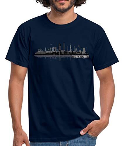 Duisburg Skyline Stadt Silhouette Männer T-Shirt, 4XL, Navy