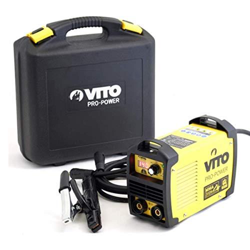 Vito Pro-Power - Saldatrice inverter 140 numerico saldatura ad arco MMA-elettrodi 1,6-3,2 mm, acciaio, ghisa, acciaio inox, valigetta ABS Vito, con maschera e accessori, nero e giallo