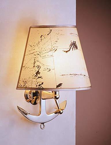 Design Wandleuchte VELIERO aus Messing Papier Anker Seekarte maritime Lampe Schlafzimmer Flur