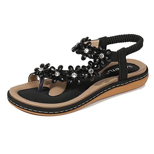 Amissz Damen Sommer Sandalen Bohemian Strass Flach Sandaletten Sommer Strand Schuhe Damen Zehentrenner