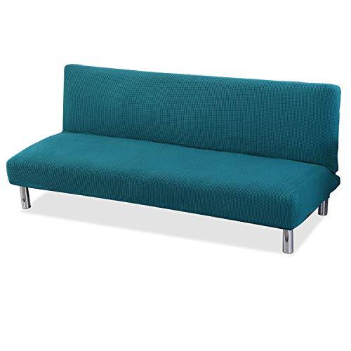 VanderHOME Fundas de Sofá Sin Brazos Spandex Cubierta para Sofa Cama Fundas de Clic-clac Elástica Large, Azul Verde