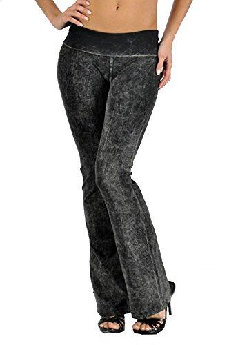 T-Party Women's Basic Solid Color Mineral Wash Yoga Pants (XL, Black)