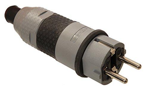 as - Schwabe SchukoUltra II Stecker, extrem stabil, für Gewerbe/Baustelle/Außenbereich,- zum Anschluss von Leitungen bis max 3x 2,5mm², grau, 62232