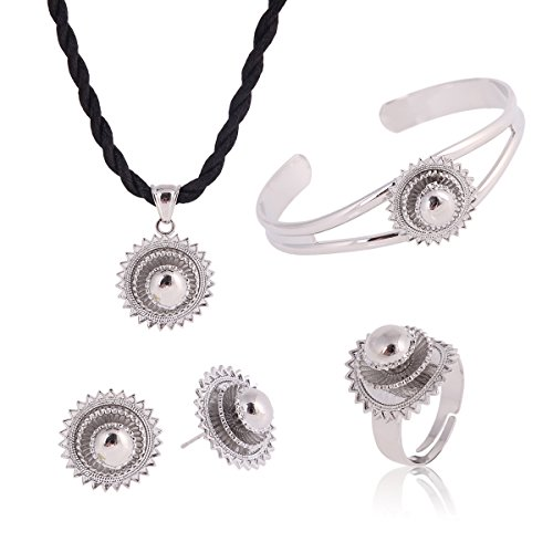 Ethiopian Jewelry White Gold Plated Habesha Wedding Five PCS African Jewelry Sets