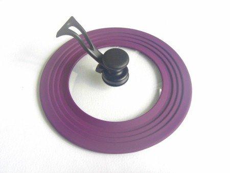 Universal Topfdeckel mit Silikonrand, 22-28 cm, violett - Topfdeckel zum Energie Sparen