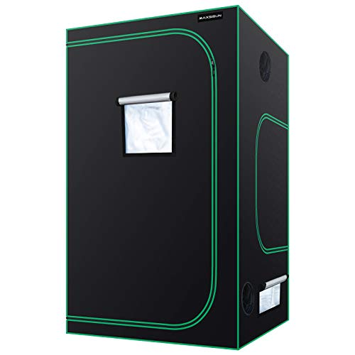MAXSISUN 4x4 Grow Tent 600D Mylar Hydroponic Indoor Plants Growing Tent with Observation Window and Floor Tray 48x48x80 Grow Cabinet for 8 Plants