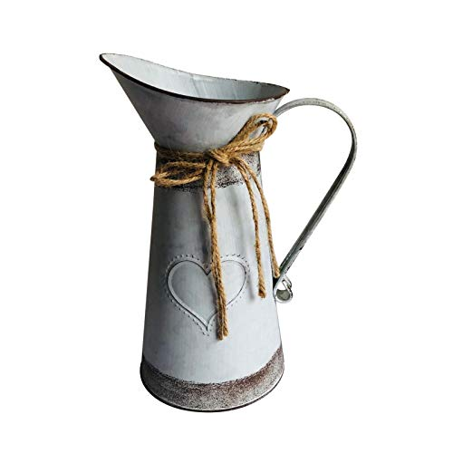 POHOVE Vintage Französische Krug Vase, Metall Krug Blumenvase, verzinkte Bauernhaus-Zinn-Milchdose, rustikale hohe Milchkanne, Bodenvase, Landhaus-Krug für Blumenhalter
