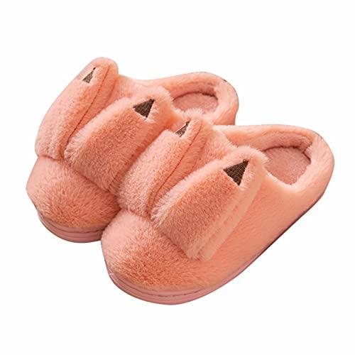 Plüsch Hausschuhe Kinder Mädchen Wolle Flauschige 3D-Druck Cartoon Heimschuhe Gefüttert Warme Pantoffeln Geschlossen Baumwolle Hauslatschen Ledersohle Rutschfester Home Unisex
