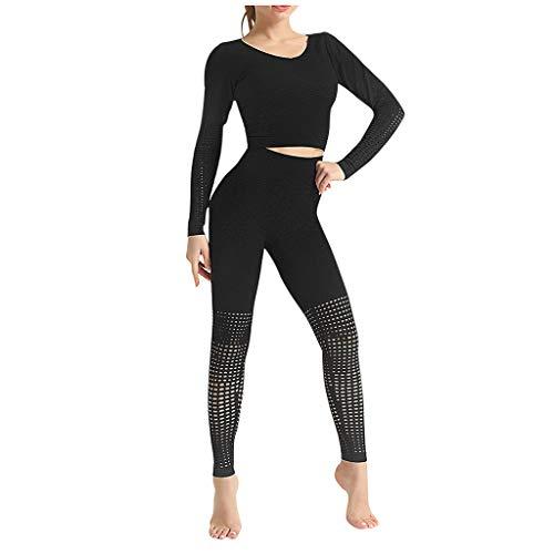 Allence New Damen Sportswear 2 Stück Trainingsanzug Langarm Sportbekleidung Sport-Tops + Leggings Fitness Anzüge Für Yoga, Laufen und Andere Aktivitäten