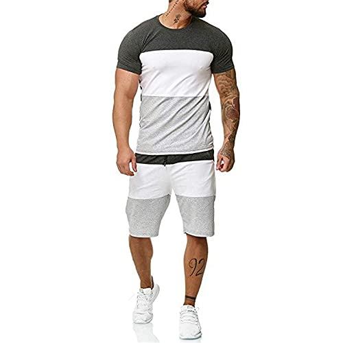Hombre 2 Piezas Set Camisetas Pantalones Cortos Running Pantalon Corto Ropa Deportiva para Running, Correr, Gym, Fitness