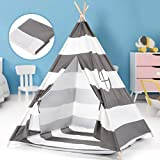 Peradix Tipi Spielzelt für Kinder Mädchen Teepee Indianerzelt Prinzessinnenschloss mit Aufbewahrungstasche und DIY-Flagge, Indoor & Outdoor (Grau)