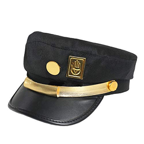 Meelanz Jotaro Cosplay Emblem Visored Black Baseball Cap Driver Hat Props (Golden)