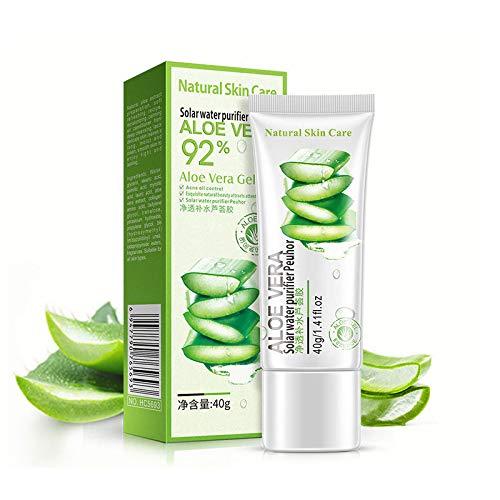 2 PCS Organic Aloe Vera Gel Juice Soothing Gel Moisturizing Lotion Facial Cream Absorbs Rapidly for Sunburn Relief, Aloe Gel Best for Face, Hair, Skin Soothing Gel