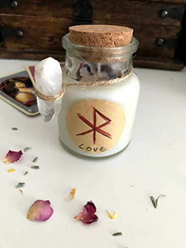 Runen Kerzen *Gebo-Wunjo* für Liebe mit ätherischen Öl und Bergkristall/Geschenk/Wicca