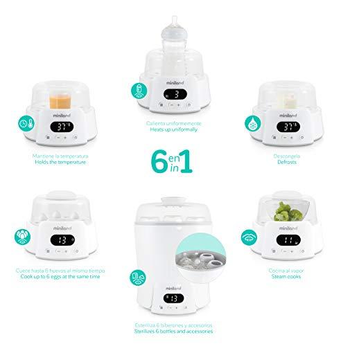 Miniland - Super 6: Calienta hasta 6 biberones, esteriliza biberones y potitos, cocina al vapor, descongela, cuece, mantiene la temperatura. 6 en 1