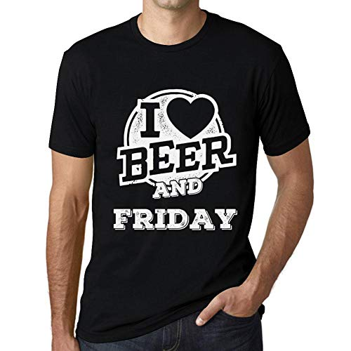 One in the City Hombre Camiseta Vintage T-Shirt Gráfico I Love Friday Negro Profundo Texto Blanco