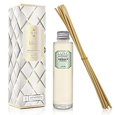 Luxe Home Reed Diffuser Refill Oil with Sticks | Replacement Diffuser Liquid Air Freshener | Many Scents to Choose from! Liquid Air Freshener | Includes Replacement Reeds | Made in The USA