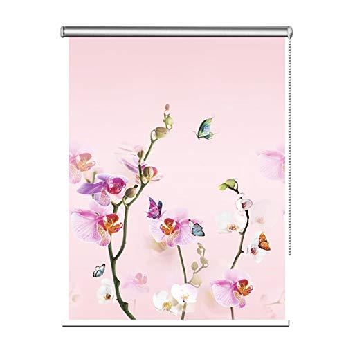 Seitenzug- & Springrollos Bambusvorhang Rosa Blumen Rollo, Wasserdicht Wärmeisoliert Vorhang für Fenster Decor, 80cm/90cm/100cm/120cm/130cm/140cm Breit Jalousie (Color : W×H, Size : 90×140cm)