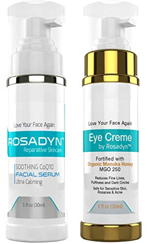 Rosadyn Rosacea Treatment Serum for face redness and hydrating Eye Crème w/Manuka Honey | Set of 2 sensitive skin facial care products