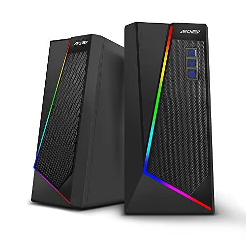 ARCHEER Altavoces PC Gaming, 10W Altavoz Ordenador Sobremesa 2.0 con 6 Mode de Luces LED RGB Controlable Sonido Estéreo de...