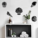 5 Pieces of Vinyl Wall Art Decal - Seashell Set - from 8' x 8' Each - Minimal Cute Adhesive Stickers Shell Design for Home Bedroom Bathroom Kids Room Living Room Store Sea Decor (Black)