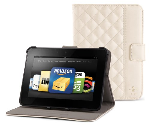 Belkin Gesteppte Hülle mit Ständer (geeignet für Kindle Fire HD (2. Generation) creme