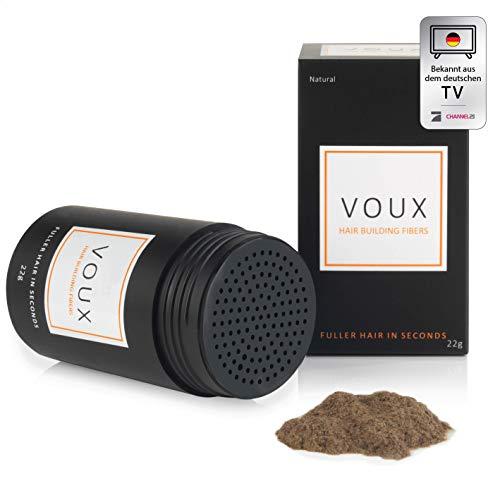 VOUX Streuhaar zur Haarverdichtung & vollem Haar in 10 Sekunden – BEKANNT AUS DEM TV – 100% Natur – Premium Schütthaar aus der Apotheke – Authentischer Look – 22g (Hell Braun)