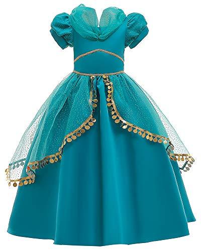 O.AMBW Cosplay Jasmine Vestido Princesa Arabe Disfraz para Nios Infantiles Color Azul Verdoso Fiesta de Carnaval Haloween Navidad Ao Nuevo Ceremonia Boda Ropa para Nias de 3 a 9 aos