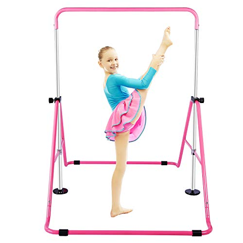 Gymnastic Bars for Kids with Adjustable Height, Folding Gymnastic Training Kip Bar, Junior Expandable Horizontal Monkey Bar for Home (Pink)