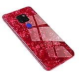 AIsoar Custodia per Huawei Mate 20 Cover + Vetro Temperato Cover Posteriore+Ultra Thin Slim Trasparente TPU Silicone Morbid Modello Custodia Antiurto Antigraffio Brillante Shell Rosso (red)