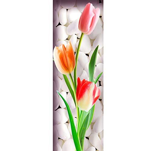 RomantiassLu Tulipanes Flor Vertical Cuadrado Lienzo Pintura Country Art Impresiones 3 Piezas Cuadros clásicos para Pasillo Pasillo Sala de Estar sin Marco
