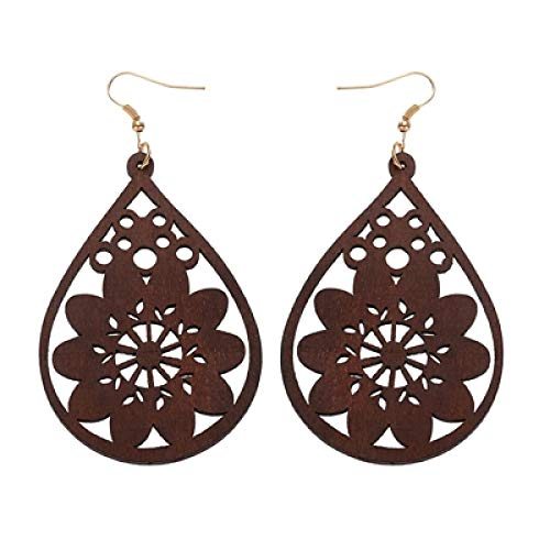 DFDLNL Womens Earring Sets Hoops Wooden Water Drops Hollow Out Flower Pendant Earrings For Women Earrings Girl Gifts brown