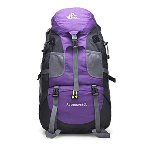 Huien outdoor rugzak camping klimtas waterdicht bergbeklimmen wandelrugzakken sporttas klimrugzak, 50l paars