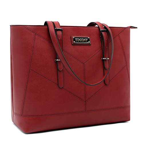 Laptop Tote Bag,17 Inch Business School Laptop Totes for Women,Lightweight Work Tote Bag,17Inch-Red