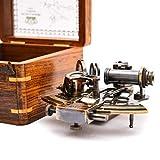 Retro Collectible Antique Nautical Brass Astrolabe Alemán Marine Sextant con caja de madera