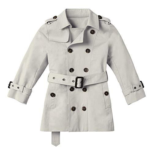 Kids Boys Girls Lightweight Trench Coat Double Breasted Classic Belted Jacket Spring Fall Outwear Dress Coats Gray