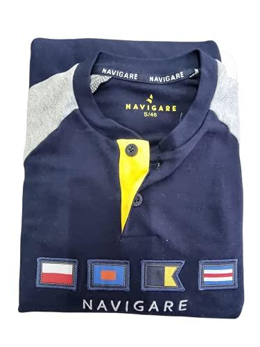 Navigare Pigiama Homewear Manica Lunga Pantalone Lungo in Diverse Fantasie e in Caldo Cotone Interlock Ideale per la Autunno / Inverno Ottma qualità Idea Regalo (M, Navy 1225)