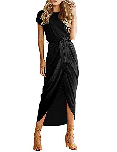 Qearal Short Sleeve Dresses for Women Elegant Ladies Casual Pencil Dress for Women with Belt Black L
