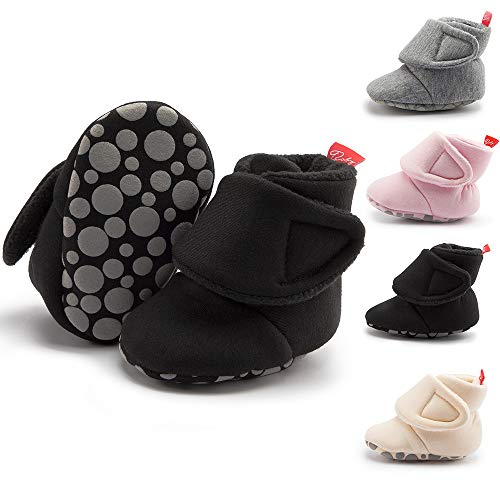 Infant Baby Boys Girls Snow Boots Warm Cotton Baby Booties Anti-Slip Rubber Sole Toddler Winter Shoes, Black 18-24M