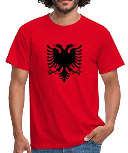 Albanien Flagge Adler Shqiperia Doppeladler Männer T-Shirt, L, Rot