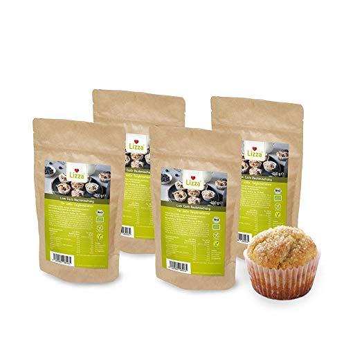 Lizza Backmischung für süße Teige | Low Carb und bis zu 88% weniger Kohlenhydrate | Ohne Gluten | für Keto, Low Carb Diät sowie Muskelaufbau | Bio. Glutenfrei. Vegan. | 4 Pack x 200g